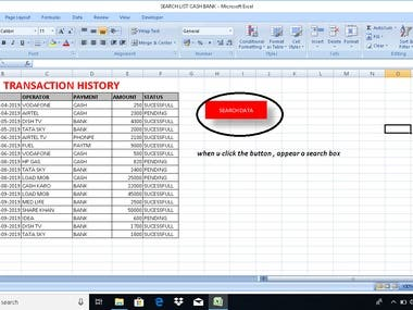 SEARCH BOX CREATION AT EXCEL