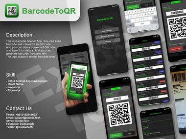 BarcodeToQR : React Native/Mobile APP