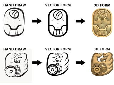 low res draw ----- to ---- illustrated vector-- to -- 3d