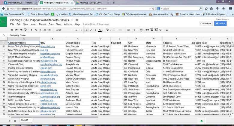 Google Spreadsheet Data Entry Freelancer
