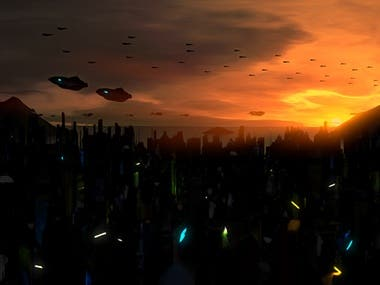 Sci-Fi city sunset