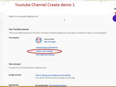 Youtube Channel Create