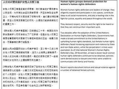 Sample of Translating Mandarin to English