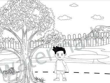 Children book illustration in line art for color