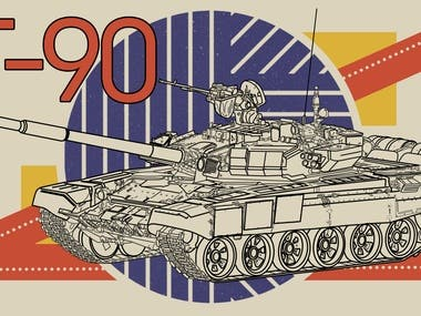 T-90 battle tank graphic illustration.