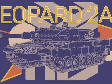 Leopard 2A5 battle tank graphic illustration