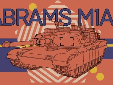 Abrams M1A2 battle tank graphic illustration