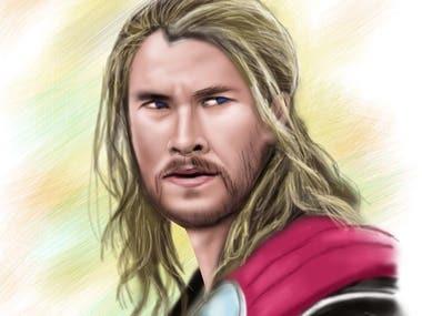 Chris Hemsworth as Thor Digital Portrait
