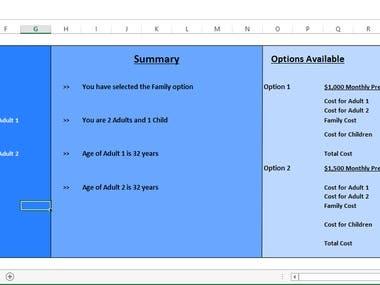 Rate Engine Widget in Excel