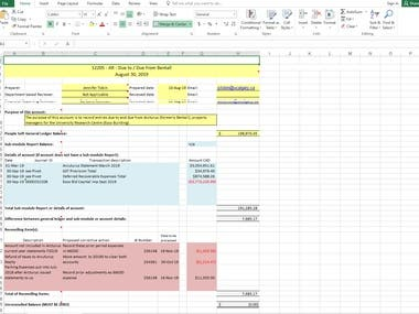 Excel Worksheet of Previous Projects
