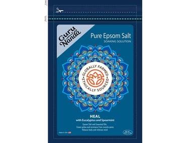 GURU NANDU PURE EPSOM SALT PRODUCT PACKAGING.