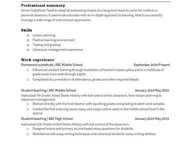 Resume for teacher