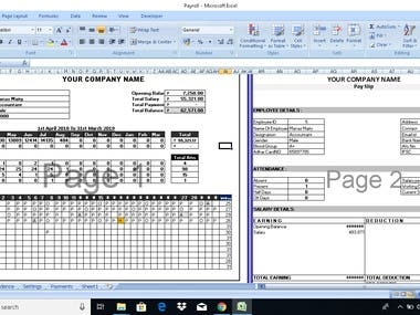 PAYROLL CREATION ON EXCEL