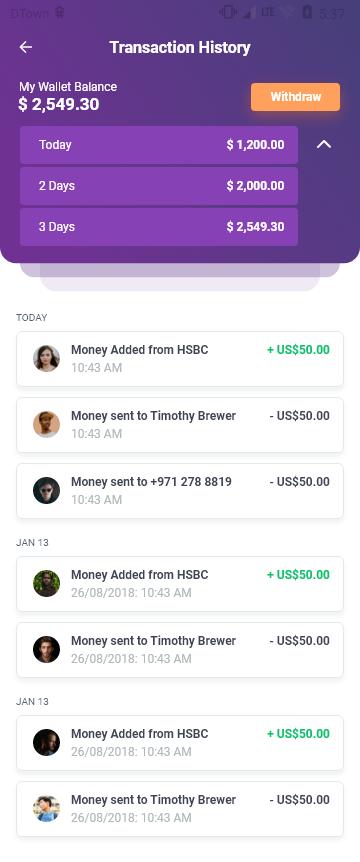 React Native- Online Wallet UI