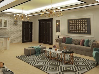 Interior Design for a living room with a coffee bar