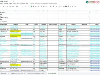 Data Entry   Research for Target Companies