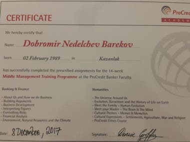 Academy certificate - Middle management academy in finances