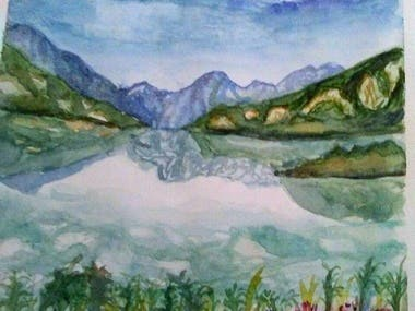 Mountains near a lake (watercolour)