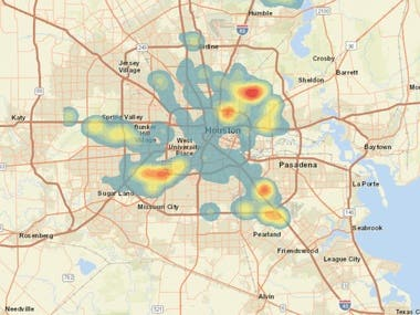 Heatmap of 911 call for water rescue during hurricane-Harvey