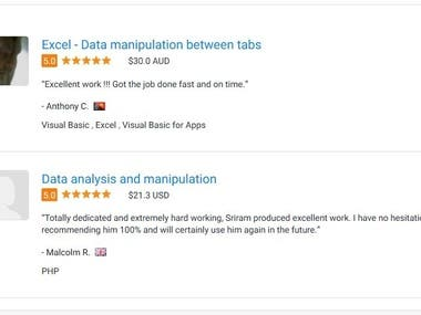 Reviews about my work by project owners