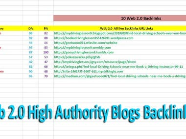 Web 2.0 High Domain Authority Blogs Backlinks