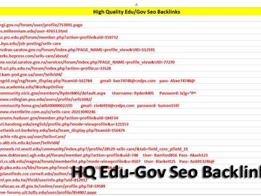 High Domain Authority Edu Gov SEO Backlinks