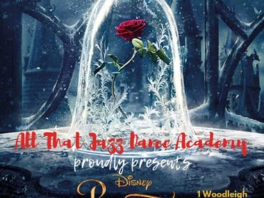 Poster of beauty and the beast theme.