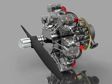 3D Design of a 7-Stroke Rotary Engine