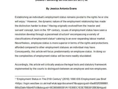 Article on Employment Law Rights and Protections