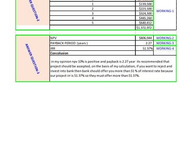 Project Financial Calculation NPV, IRR PAYBACK