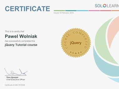 jQuery Certificate