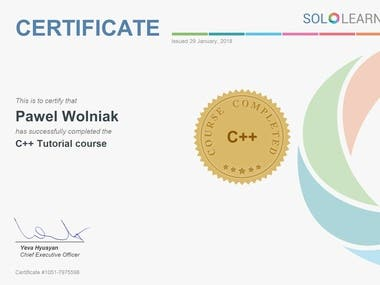 C++ Programming Language Certificate issued by SoloLearn