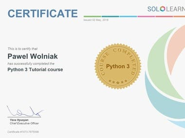 Python3 Certificate issued by SoloLearn Organization.