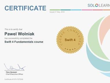 Swift4 app programming language Certificate