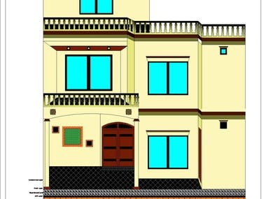 House 2D Front Elevation