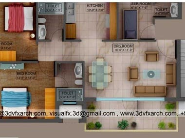 3D FLOOR PLAN WITH 3DS MAX