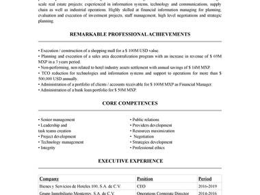 Resume translation