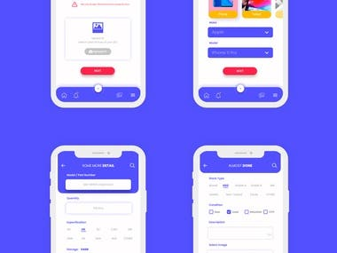 4 screens app / Ui Design