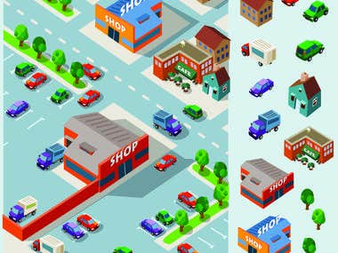 city construction - 2D- 3D Game vector