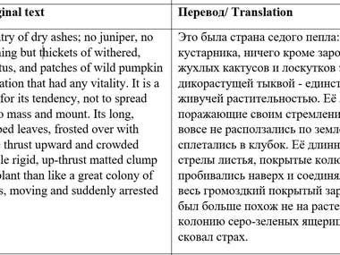 Translation of fiction Eng-Rus