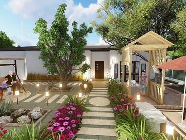 Design a small house garden