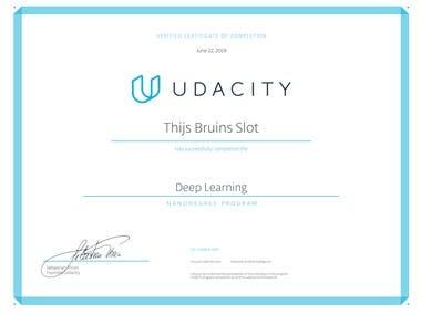 Deep Learning Nanodegree Certificate