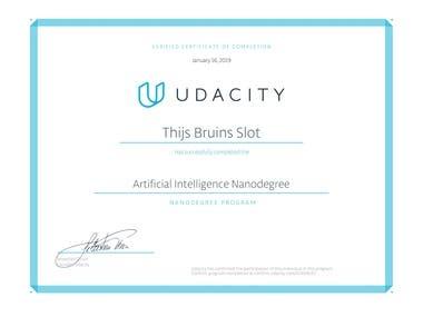 Artificial Intelligence Nanodegree Certificate