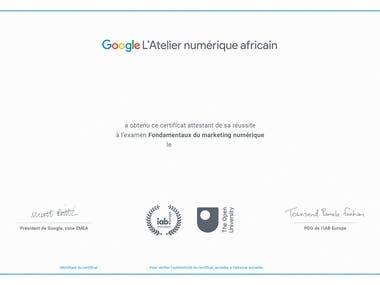 Certificat de l'Atelier de Google Numérique
