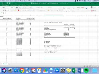 Conduct t-test using Excel