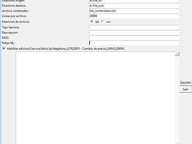 Generador de archivos txt, csv.