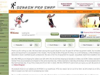 eCommerece Website: www.squashproshop.com