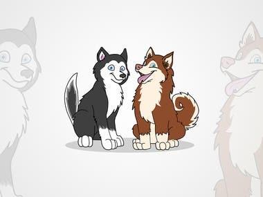 Cartoon Illustration of Two Dog's