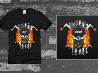 Blue Collar Pride Skull Design (T-Shirt)