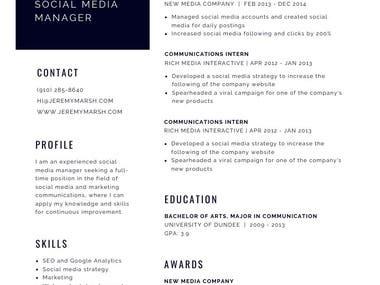 Resume sample #3